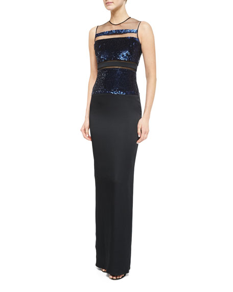 Pamella Roland Sleeveless Sequin-Stripe Gown