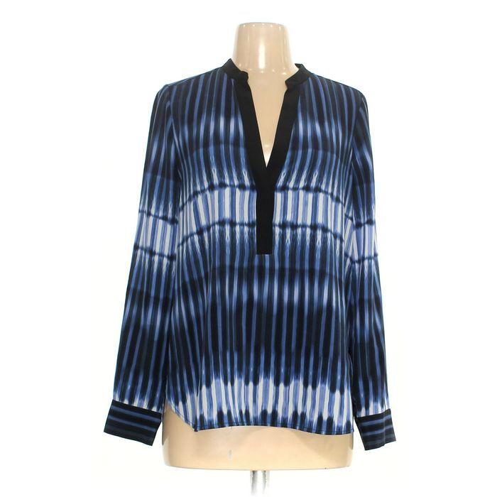 Vince Tie-Dye Striped Silk Blouse