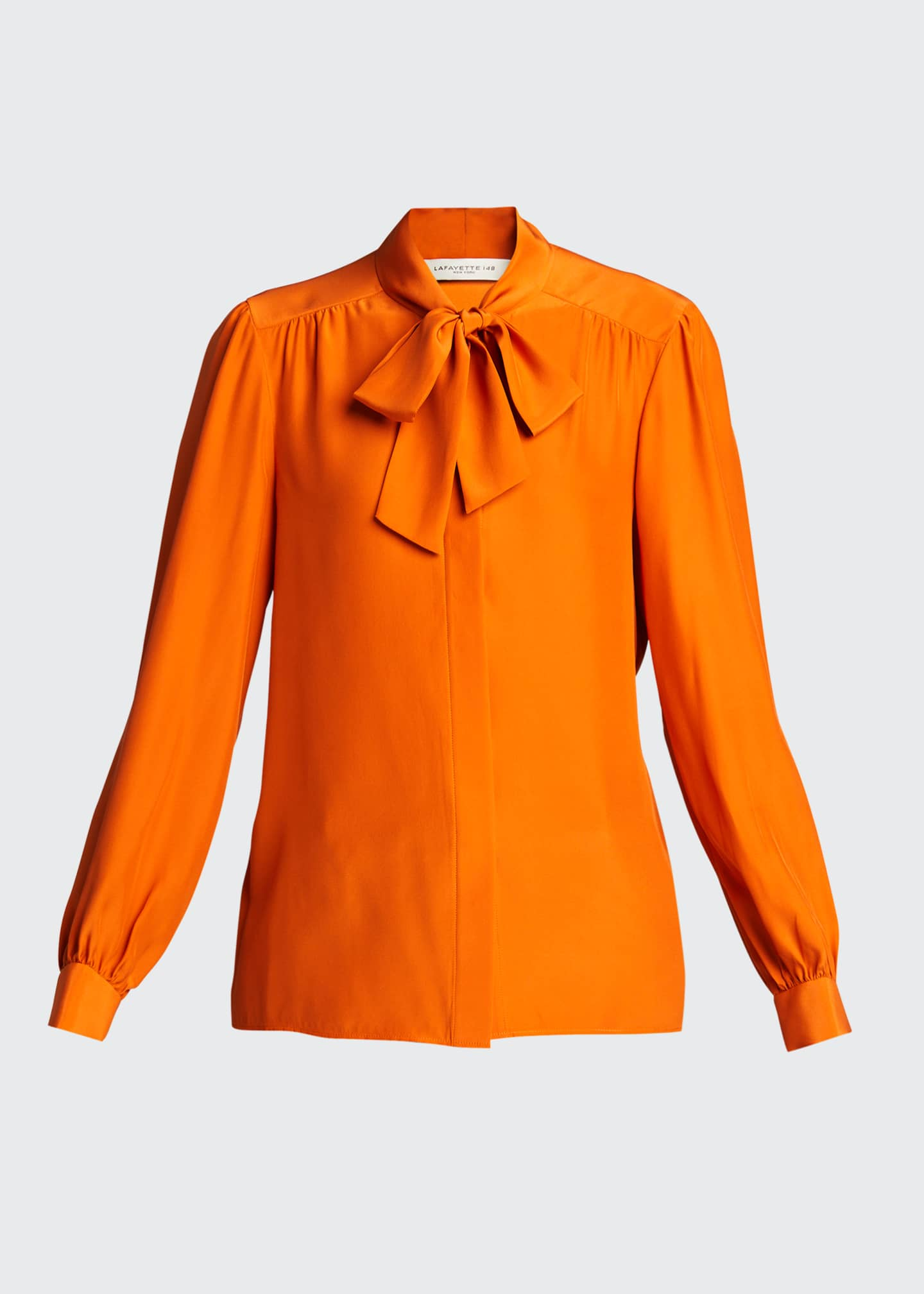 Lafayette 148 New York Tie-Neck Silk Blouse