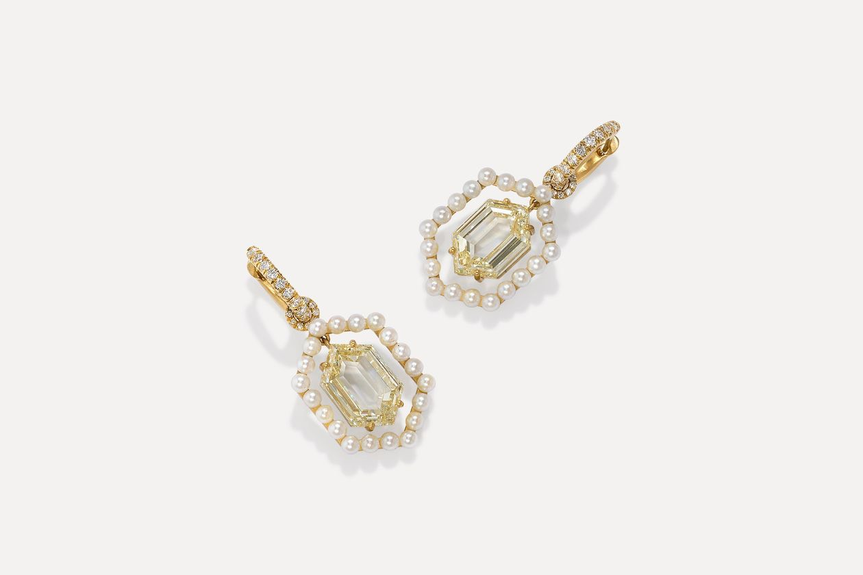 Irene Neuwirth Custom Diamond and Pearl Earrings
