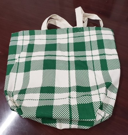 Dynamic Denim Plaid Canvas Tote