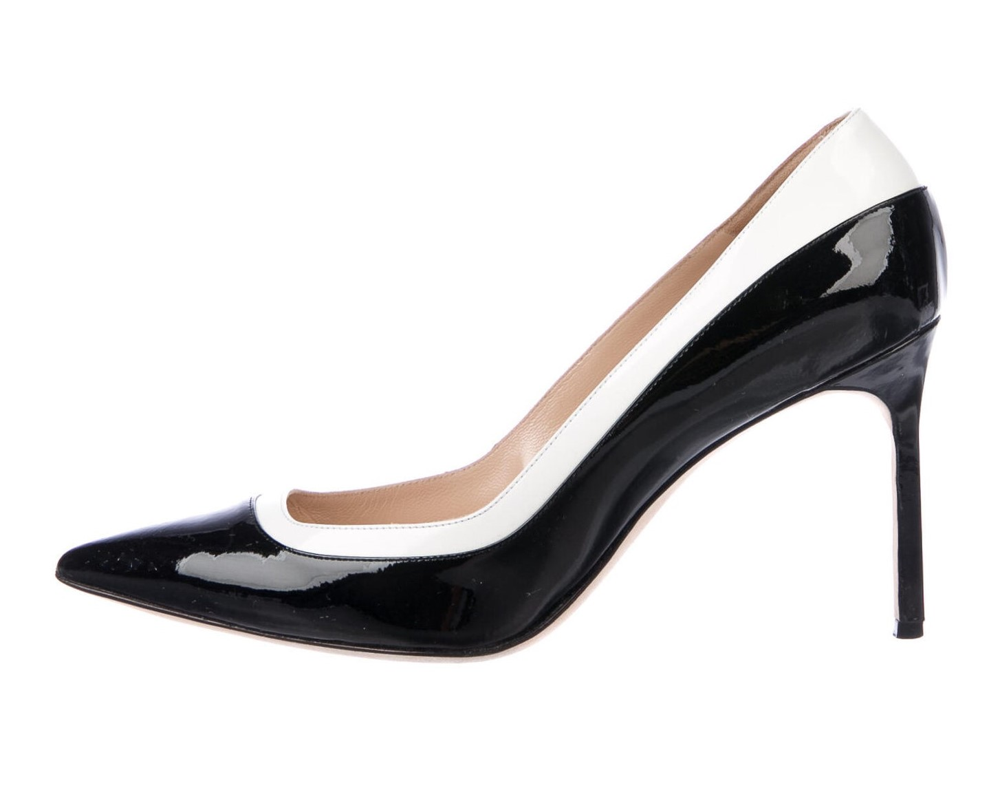 Manolo Blahnik Black and White Patent Pumps