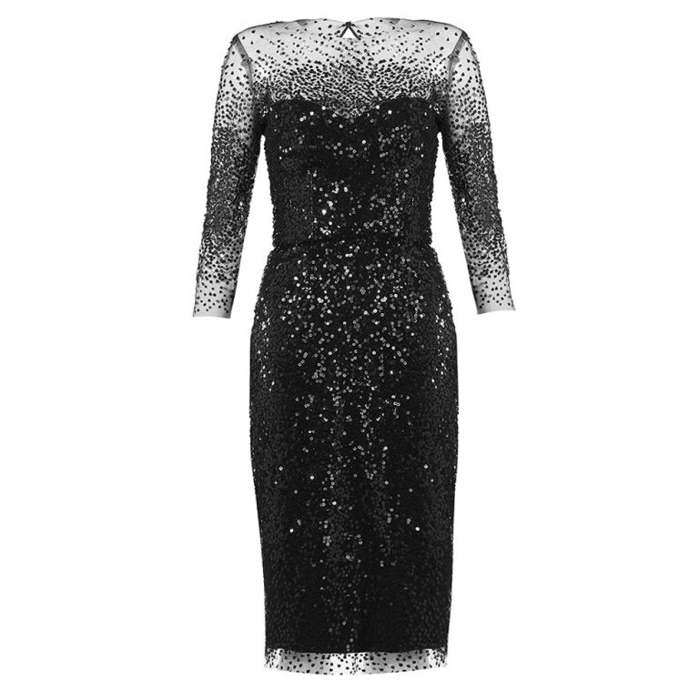 Monique Lhuillier Sequined Illusion-Trim Dress