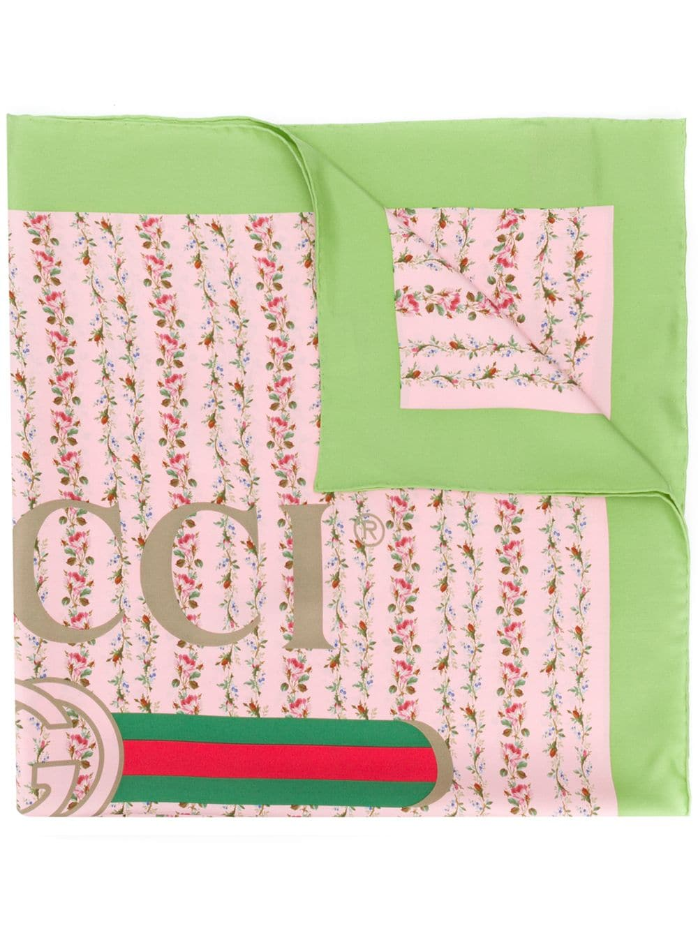 Gucci Rose Print Silk Scarf